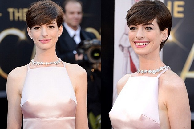 Anne Hathaways Hard Nipples on her Oscar Dress