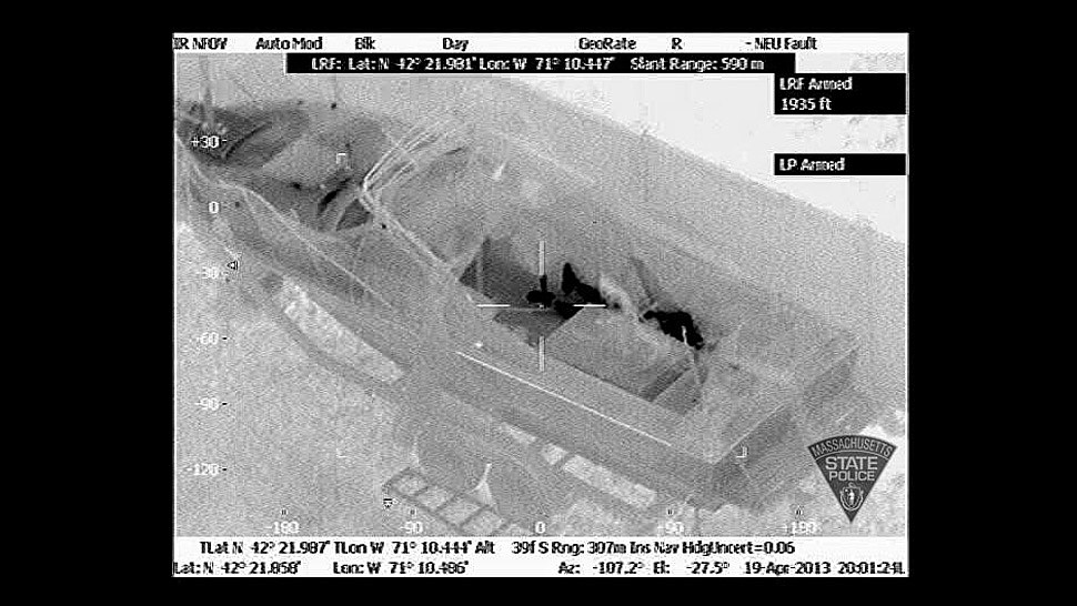 Helicopter Infrared Image of Dzhokhar Tsarnaev Hiding In A Boat