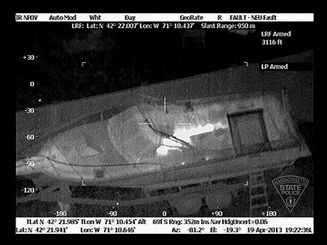Helicopter Infrared Image Of Dzhokhar Tsarnaev In A Boat