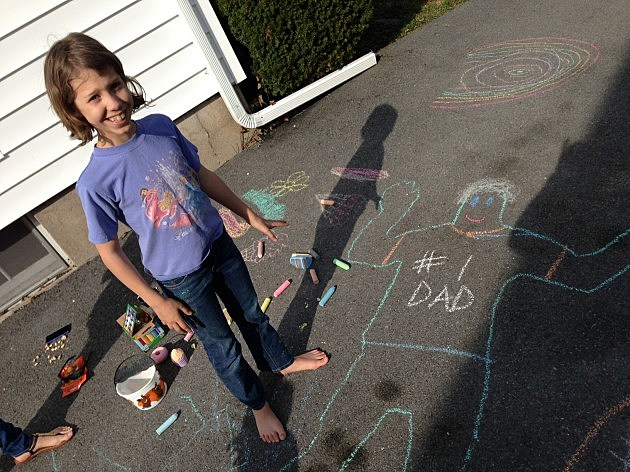My 10 year old, Abby with her chalk trace of me