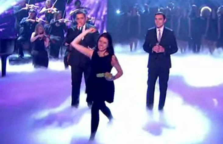 Watch Natalie Holt Egg Simon Cowell On Live TV For Britain's Got Talent