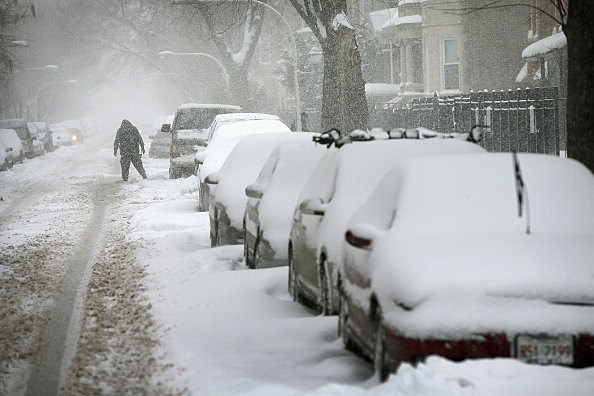 winter storm with cars