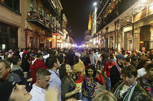 Mardi Gras people in the street