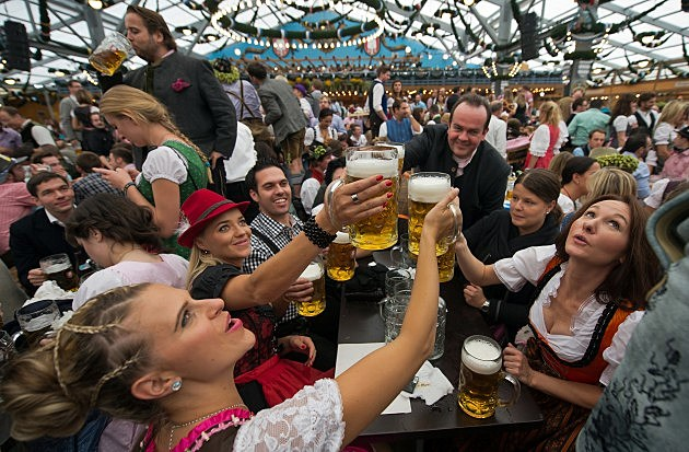 German people drinking beer at Octoberfest